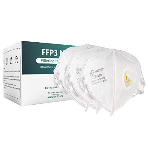 10X FFP3 Maske CE Zertifiziert Schutzmaske Mundmaske, 6-Lagen-Atemschutzmaske, Staub-Atemschutzmasken Faltbare Staubschutzmasken Mund-Nase Gesichtsschutz Norm EN149:2001+A1:2009 mit Ventil 10Stück