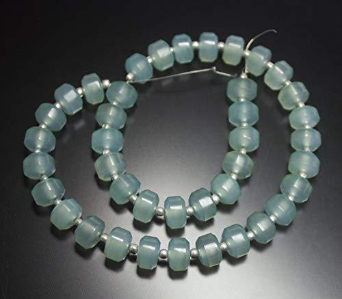 Shree_Narayani Cuentas sueltas de calcedonia azul aguamarina de calidad fina Strand Smooth Tire de 9 mm 12.5 pulgadas para hacer joyas DIY manualidades encantos collar pulsera pendiente 1 hebr