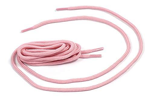 Matsa Poliéster y algodón Cordones Redondos Para Zapatillas Deportivas o Para Zapatos. (130Cm) (Contiene 3 Pares), Rosa Palo, 1.30 m