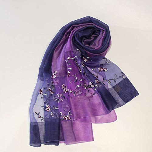 FGHN Silk scarf Spring and summer burst models embroidered silk wool scarf tourism sunscreen female scarf shawl peach gradient (Color : Violet)