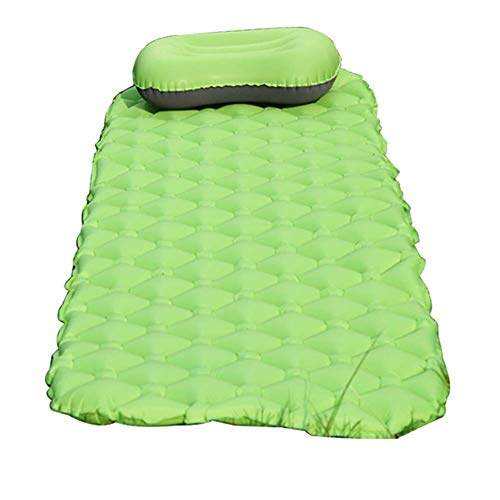 nmsl Camping Inflatable Sleeping Mat, Lightweight 460G Air Mattress, Portable Compact, Single Bed with Pillow, Best for Hiking Outdoor Traveling Camp Sleep