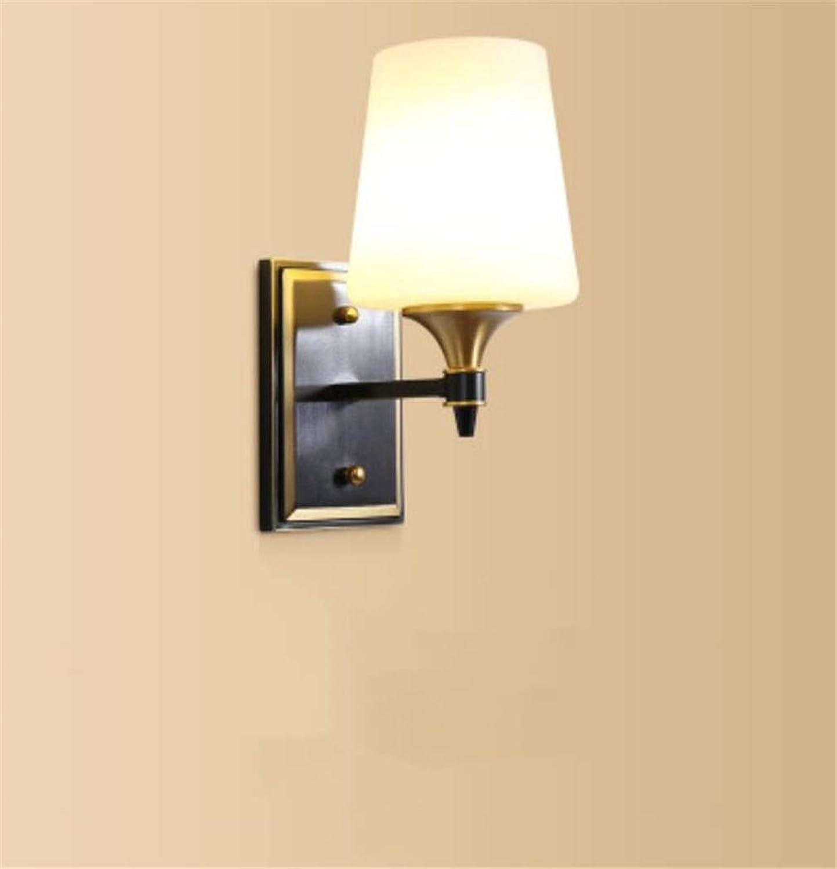 Wandleuchtebeleuchtungschlafzimmerbeleuchtung, Amerikanischer Stil Alle Kupfer Wandleuchte Einzigen Kopf Schlafzimmer Nachttischlampe Wohnzimmer Hintergrund Wand Modernen Einfachen Gang Lampe D  25Cm