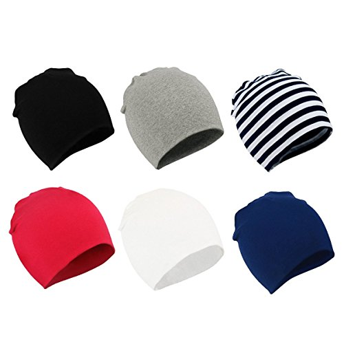 Zando Baby Beanies Toddler Beanie Baby White Beanie for Infants Beanie Babies Hat Baby Boy Slouchy Beanie Hats Caps 6 Pack 1 Small (0-12 Months)
