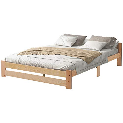 Cama de madera maciza para futón, cama doble de madera maciza, cama juvenil natural, con cabecero y somier (200 x 140 cm)
