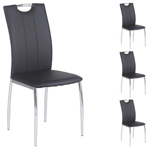 IDIMEX 4er Set Esszimmerstuhl Essgruppe Apollo, Set mit 4 Stühlen in Chrom, Lederimitat in schwarz