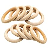 Wood Rings,25 Pack Natural Wood Rings for Crafting DIY Jewelry Making Craft Projects,70mm
