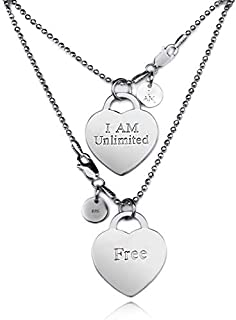 I AM DESIGNERS - I AM Unlimited / Free – Engraved, .925 Sterling Silver Exclusive Pendant, 20 in bead chain, rhodium plate...