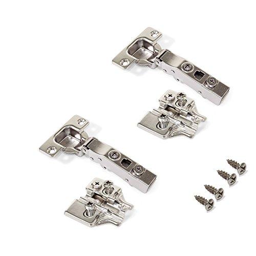 Emuca 1014207 Pack de 2 bisagras de cazoleta Ø35mm 100° para puerta solapada y suplementos Euro con regulación excéntrica