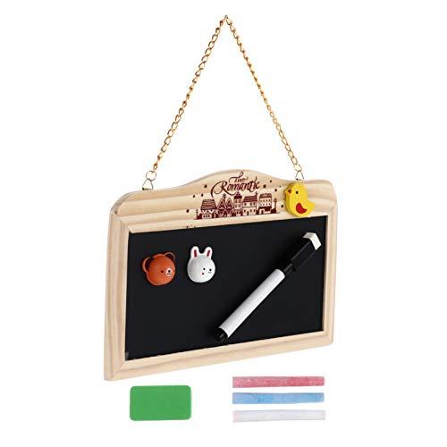 ABOOFAN Panneaux de Tableau Suspendus avec 3Pcs Craies Marqueur Gomme Autocollant Mini Tableau Noir Magnétique Tableau de Messages en Bois Affichage Mémo pour Bar de Mariage Cuisine