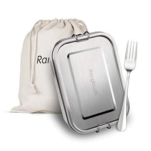 RangTouek Brotdose Edelstahl, Lunchbox mit Trennwand, Spülmaschinenfeste Lunchbox, Auslaufsichere Bento-Box für Erwachsene und Kinder, BPA-frei, 800 ML