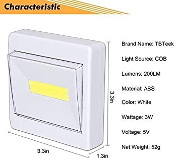 Closet Light, Super Bright, Battery Operated, Stick Anywhere, 200 LM Cob Led Light Switch Nightlight, Tap Lights for ...