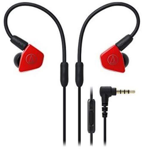 Audio-Technica ATH-LS50iSRD Fones de ouvido intra-auriculares com microfone e controle integrado, vermelho