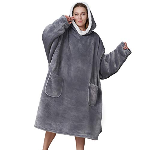 EHEYCIGA Blanket Hooded with Sleeves and Pocket Soft Fleece Hoodie Blanket for Men amp Women Grey Standard Size 35 Inches