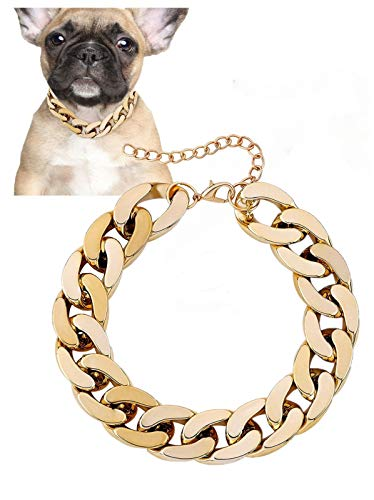 Posh Petz Gold Link Chain Necklace for Dogs - 27 cm - Tiny Bling for Small Dog or Puppy - Lightweight Braided Metal Look - Fits Chihuahua, Yorkie, Mini Breeds - Cute Pet Jewelry and Accessories