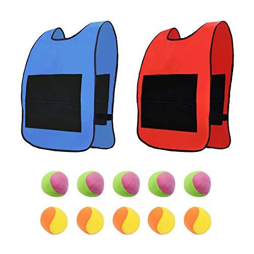 AiYoYo Wurfspiele Spielzeug Set 2 Stuck Oxford Tuch Sticky Weste mit Groß Klettverschluss und 10 Stück Dodgeball für Erwachsene und Kinder Outdoor Spielzeug ab 3 Jahre beim Strände, Parks, Gärten (A)