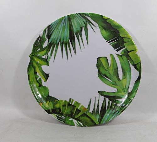 Set of 4 All For You Melamine Dinner Plates Green Leaves Everyday Use Dinner Dishes Set (10.25')