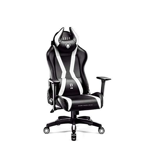 Diablo X-Horn Gamestoel Gaming Stoel Bureaustoel 3D Armleuningen Ergonomisch Ontwerp Lumbaal/Nekkussen Imitatieleer (S, Wit)