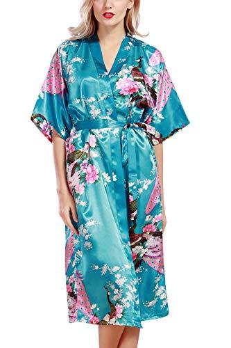 YAOMEI Mujer Vestido Kimono Satén, Camisón para Mujer, Sedoso Pavo & Flores Robe Albornoz Dama de Honor Ropa de Dormir Pijama, Distancia Larga (2XL, Lago Azul)