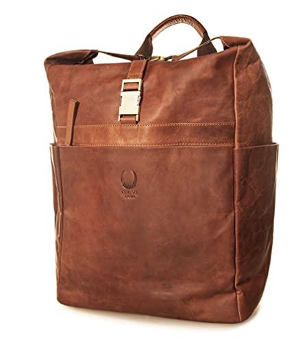 Corno d´Oro BP854 - Zaino in pelle con rotelle, per laptop da 17 pollici, stile vintage, colore: marrone