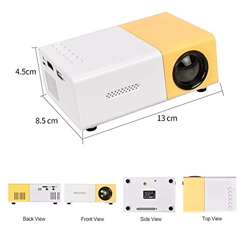 Proyector de Bolsillo, LED 800 lúmenes de Audio de 3,5 mm 320x240 píxeles USB HDMI pequeño proyector de Home Media Player, Conveniente for el hogar Partes Entretenimiento, reuniones corporativas miniatura