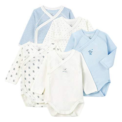 Petit Bateau 5649699 Conjunto de Ropa Interior para bebés y niños pequeños, Azul Blanco/Azul Blanco/Azul Blanco/Gris Blanco, 3 Meses