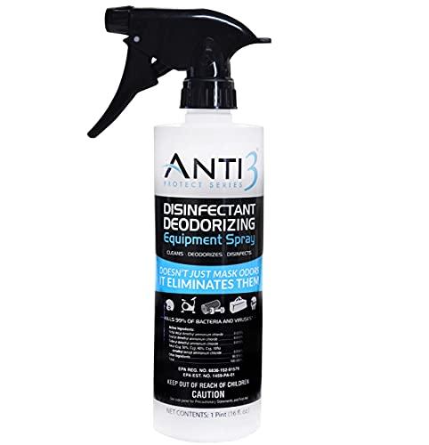Anti3 Protect Disinfectant Spray, Odor Eliminator & Cleaner, Gym Sanitizing Spray for Equipment, Wrestling Mat, Shoes, Yoga Mats, Multi Surface & Air (1 - 16 Oz. Bottle)