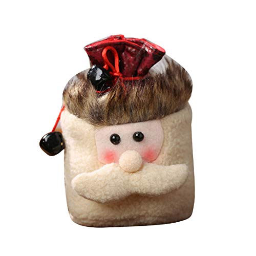 FWQW Taschen Weihnachtsgeschenkverpackung Kordelzug Taschen Weihnachtsfeier Santa Snowman Elk Treat Tasche für Partybevorzugungen und Süßigkeiten, präsentiert Wickeltaschen, Santa