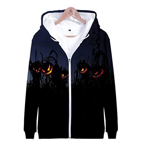 Z-MENG Herren Herren-Jacken Sportjacken für Herren Halloween Print Langarm Zip Hoodie Fashion Herbst Winter Sport Jacke Sweater Jacke Casual Cotton Jacket (XXXXL, Schwarz)