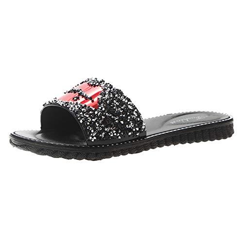 Fullwei Sandals for Women Casual Flats,Women Comfy Rhinestone Flat Sandals Ladies Cute...