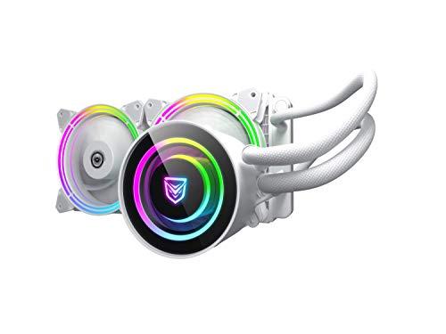 Nfortec Atria Refrigeración Líquida RGB 240 mm con Conector estándar 5v 3 Pin y ventilación con 7 aspas (Compatible con 10th generación de Intel) - Color Blanco