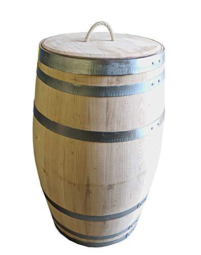 150 Liter Holzfass, neues Fass, Weinfass aus Kastanienholz geöffnet als Regenfass, Regentonne (Fass unbehandelt mit Deckel)