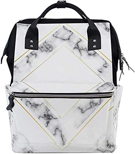 College Bag luiertas van wit en grijs marmer waterdichte verzorging reisrugzak mummierugzak baby print stijlvolle mama papa mummie tas wikkeltas muti-functie maat
