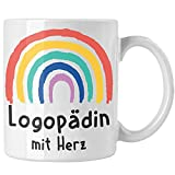 Trendation - Logopädin mit Herz Tasse Danke Geschenk mit Spruch Kaffeetasse Zubehör Dankeschön (Weiß)