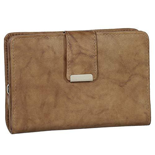 Ledershop24 RFID Damen Leder Geldbörse Damen Portemonnaie Damen Geldbeutel - Farbe Natur - Geschenkset + exklusiven Ledershop24 Schlüsselanhänger
