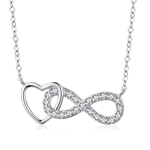 Collar de corazón AmorColgante Sterling Plata 925 Rosa Oro Chapado45+5cm Plata