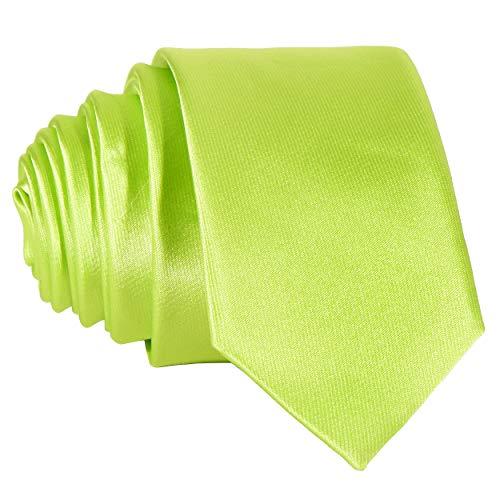 DonDon Corbata estrecha brillada 5 cm de color verde claro - hecho a mano