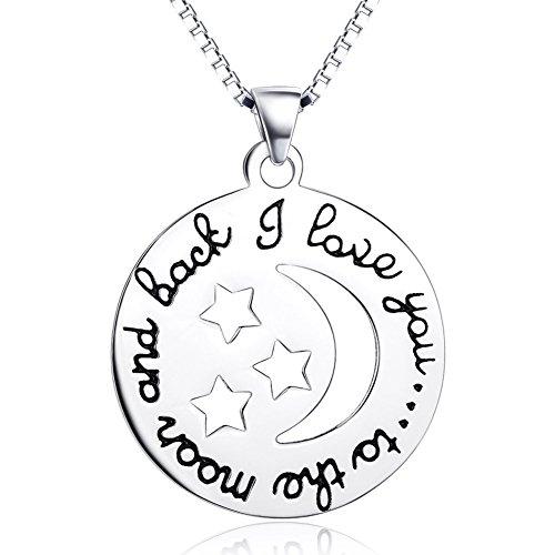 Aienid Frauen Geschenk 925 Sterling Silber Halskette für Damen Halbmond Star