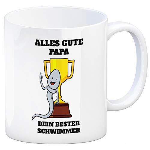 trendaffe - Alles Gute Papa - Dein Bester Schwimmer Kaffeebecher mit Sieger Motiv Vatertag