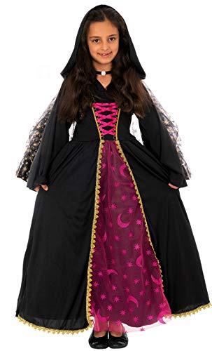 Magicoo Mondkönigin Hexenkostüm Kinder Mädchen schwarz-pink inkl. Kleid mit Kapuze & Halskette - Gr 110 bis 140 - Halloween Vampir-Kostüm Kinder (122/128)