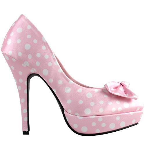 SHOW STORY Soft Pink White Two Tone Spot Polka Dots Bow Stiletto Platform High Heel Pump,LF30406BF38,7US,Soft Pink