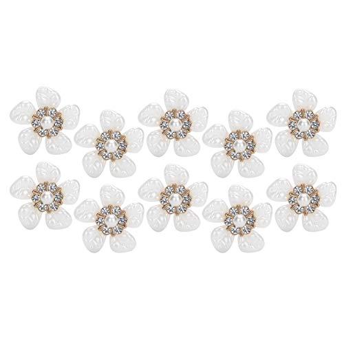 Fockety Colgante de Bricolaje, botón en Forma de Flor, Forma de Flor para Fiestas, Bodas, Mujeres(Small Rhinestone Pearl Flower)