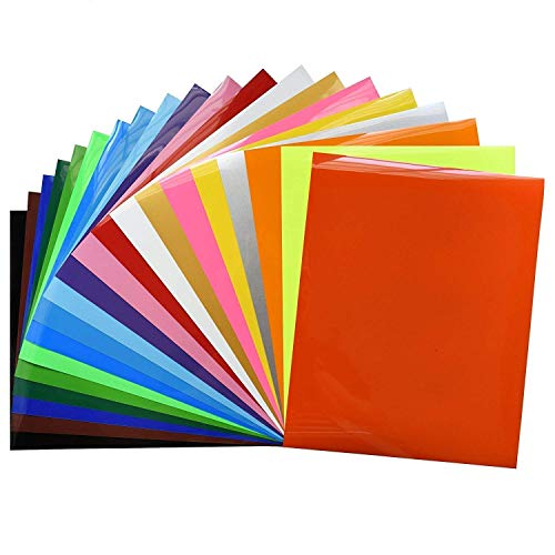 Fame Crafts Heat Transfer Vinyl Bundle 12'x10'- 20 Pack of Assorted Color DIY T-Shirt Vinyl Transfer Sheets -Best Iron On HTV Vinyl for Silhouette Cameo, Cricut - or Use with Heat Press Machine Tool