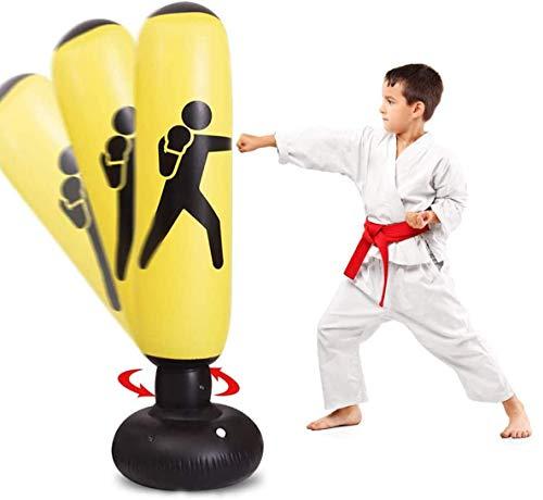 Saco de boxeo para niños, inflable independiente para niños, juego de fitness, saco de boxeo resistente de estrés para practicar karate, Taekwondo, MMA para niños y adultos.