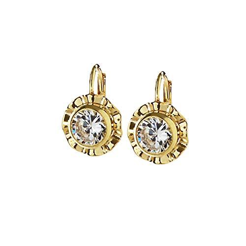 NKlaus Paar 333 Gold gelbgold Brisur Ohrhänger Antik Design Ohrringe Zirkonia weiß 7799