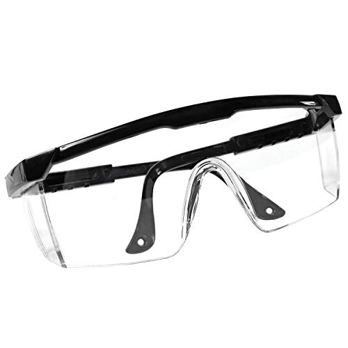Adjustable Protective Safety Glasses with Clear Wrap Around Lens, Anti-Fog and Scratch Resistant Protection Eyewear (1, Black)