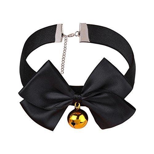CHICTRY Damen Halsband mit Glöckchen Halskette Katzenkostüm Verstellbare Halsreif mit Schleife Choker Kragen Fasching Party Cosplay Schwarz L