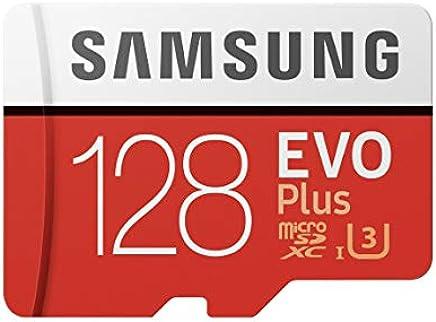 Samsung EVO Plus - Tarjeta de Memoria microSD de 128 GB con Adaptador SD, 100 MB/s, U3, Color Rojo y Blanco