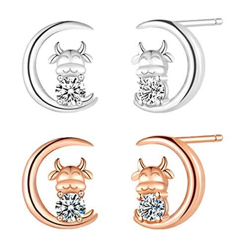 Amosfun 2 pares de pendientes de estrás, diseño de animales, de cobre, para mujeres y niñas, regalo de cumpleaños (plata dorada)