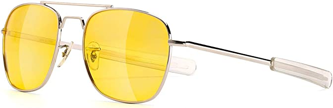 Mens Aviator Sunglasses 55mm Polarized Pilot Military Square Shades with Bayonet Temples