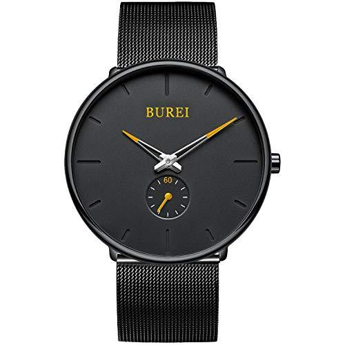 BUREI Herren Damen Uhren minimalistisch Ultra flaches schwarzes dial Analog Quarz Armbanduhr mit schwarzem Edelstahl-Mesh-Band